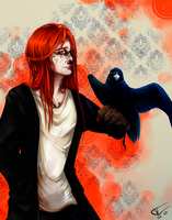 red-blue raven by wyum