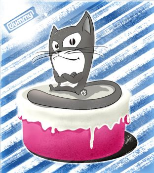 cat on cake by skizoclown