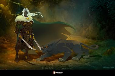 Drizzt Do'Urden and Gwenhwyvar by MabaProduct