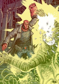 Hellboy against the electric homunculus by Fuacka