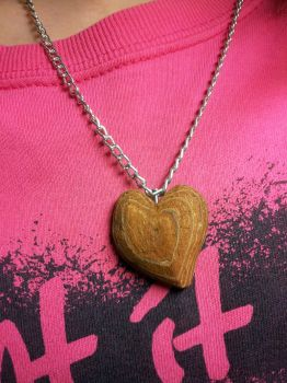 Tree bark heart necklace by Infera1