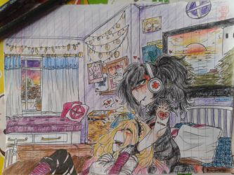 Hanging out in bby's room by GlitchMonster404
