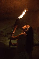 Fire Sword in Cave by aliceinflames