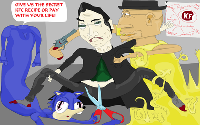 Sonic and Walter White extracting the KFC recipe by Sikojensika