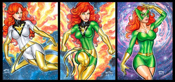 JEAN GREY PERSONAL SKETCH CARDS JANUARY 2017 by AHochrein2010