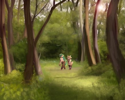 A walk through the forest by Drawing-Heart