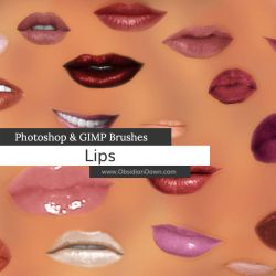 Lips - Mouth Photoshop and GIMP Brushes by redheadstock