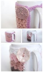 Crochet Cozy Mug Pink for Coffee Lover and Teatime by coco-flower