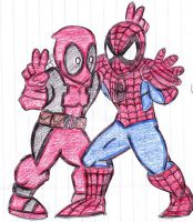spidey n deadpool by MasterSoundwave