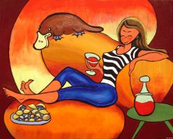 Wine and Platypus Night by JohnFarallo