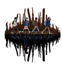 Stranger Abbey Road Shirt Design by toadking07