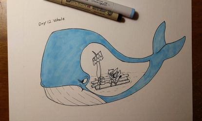 Inktober Day 12 Whale by Bunnygirle26