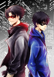 Sketch Commission - Dick Grayson and Jason Todd by zefiar