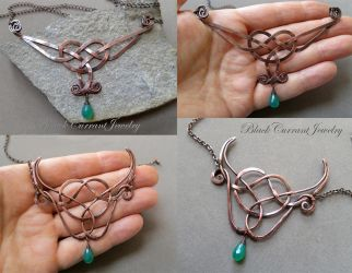 Two Celtic Necklaces Copper and Green Onyx by blackcurrantjewelry