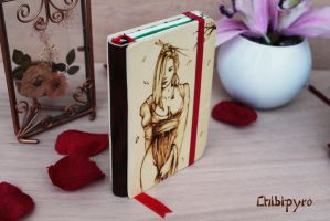 Wooden notebook SALE by ChibiPyro