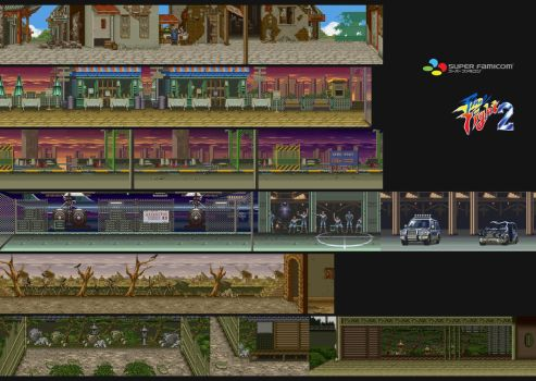 Final Fight 2 Backgrounds (SNES) by marblegallery7