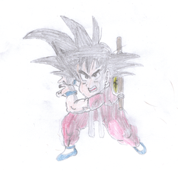 kid goku first try Edit now with colour by psychowolf11