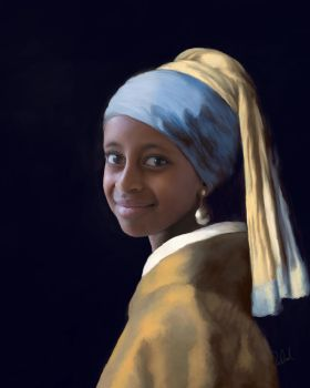 Ethiopian Girl with the Pearl Earring by LadyCarolineArtist