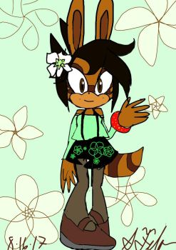 Floral the Raccoon Rabbit by GenieDust7766