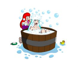 Bath Time for Black Cat by streetgals9000