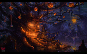 the dread tree! halloween environment painting by Siga4BDN