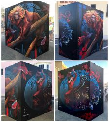 Golden Lion Tamarin and beta Fish Anamorphic mural by charfade