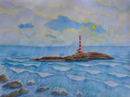 Lighthouse in the sea by Cancer--chan