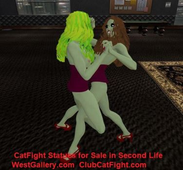 Second Life Catfight Statues all prepped by westcat