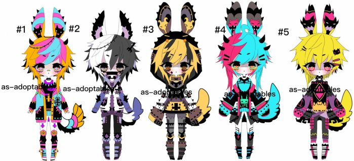 Punk Pluffy BUNNY adoptables open by AS-Adoptables