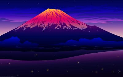Sunset at Mt. Fuji - no bamboo by MissNysha
