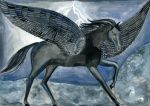 Black pegasus in a lightning storm by Amalias-dream