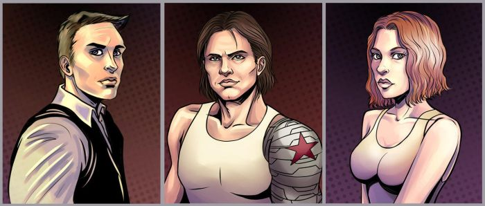 Cap, Bucky and Nat by SargeCrys