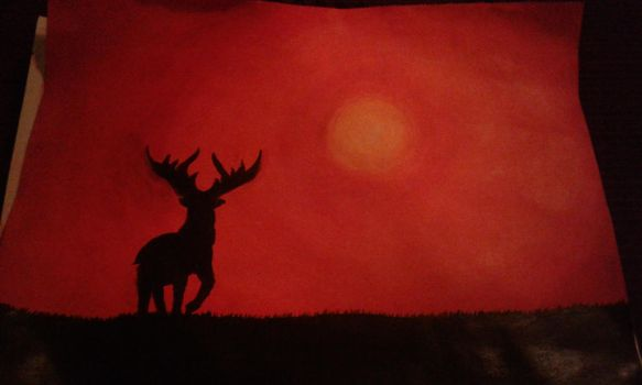 Lone Deer in Sunset by Eterza