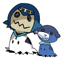Lana and Popplio (Mimikyu) by RockMan6493