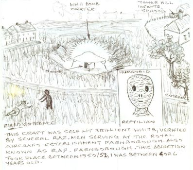 Hil's1950/52 Abduction (Full Sketch From Memory) by MyAlienAbductionArt