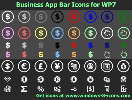 Business App Bar Icons for WP7 by Ikonod