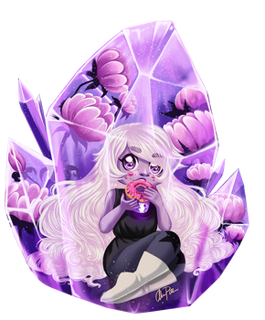 Amethyst trapped in her Gem by xaCupofArt
