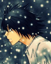 L Lawliet---through the snow by winter-kid