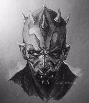 sketch of Darth Maul on Toned Paper by Aeriz85