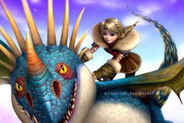 Astrid and Stormfly by elisetrinh