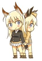Strike witches chibi - Marseille and raisa by Teppez