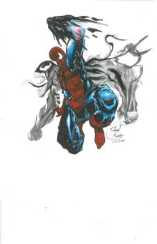 spiderman vs venom by Darryltheartist
