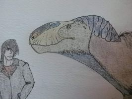 Me and a flashy Eustreptospondylus (detail) by Kazuma27