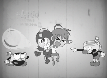 Cartoon Anime Mash up of some kind (black n white) by L-Rid