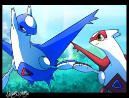 latios and latias holdn' hands