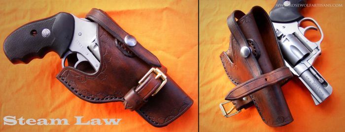 Steam Law Cowboy Holster by rosewolfartisans