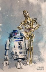 r2d2 c3po - Disney commission (Star Wars) by neo-innov