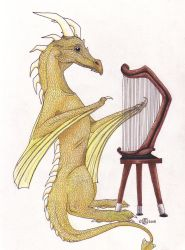 Dragon Playing Harp by suger-hyper