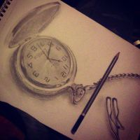 Pocket watch drawing by haloanime97