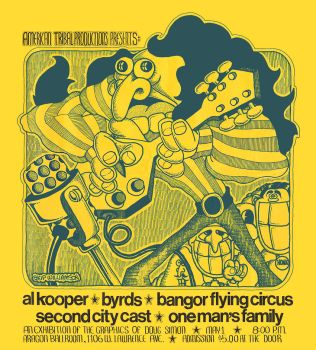 Rock poster for Al Kooper and the Byrds by SkipWilliamson